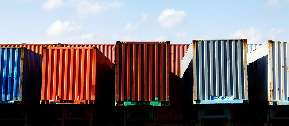 Colored containers and skyline photograph