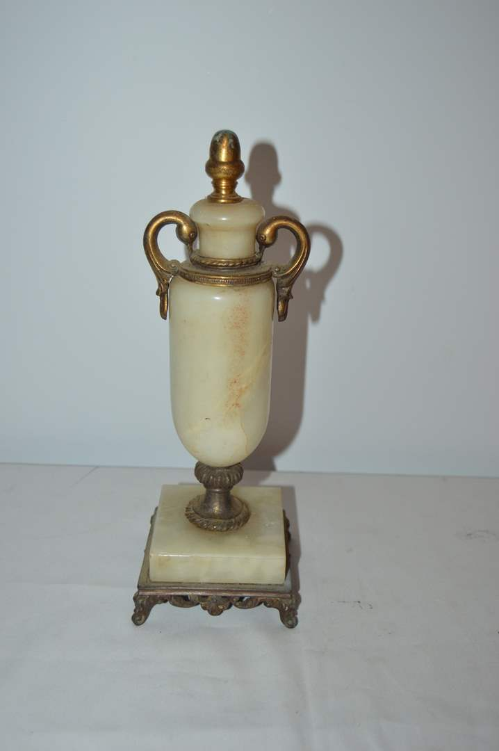 Lot # 4 Heavy brass and marble lamp base (main image)