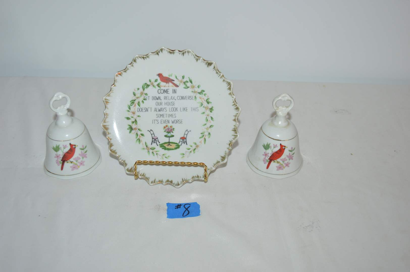Lot # 8 Decorative plate on stand w/ 2 matching bells - All have cardinals on them (main image)