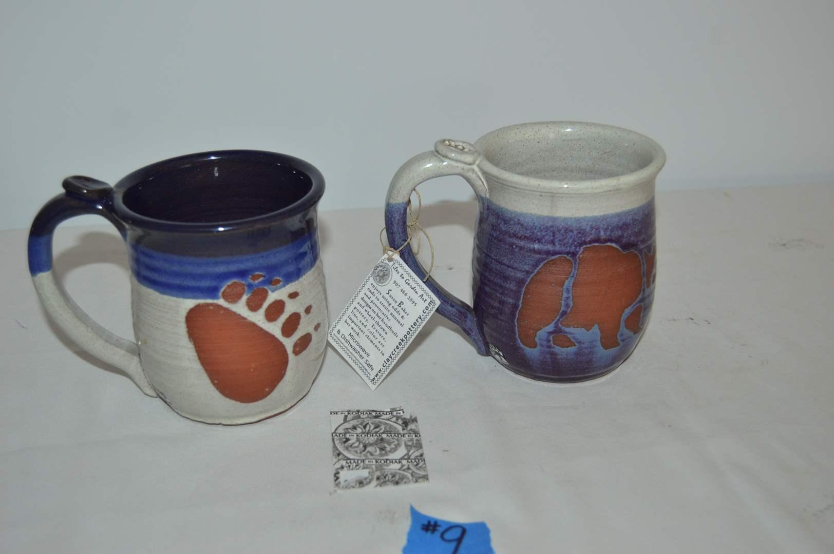 Lot # 9 Pair of Kodiak clay creek pottery mugs by Susan Baker (main image)