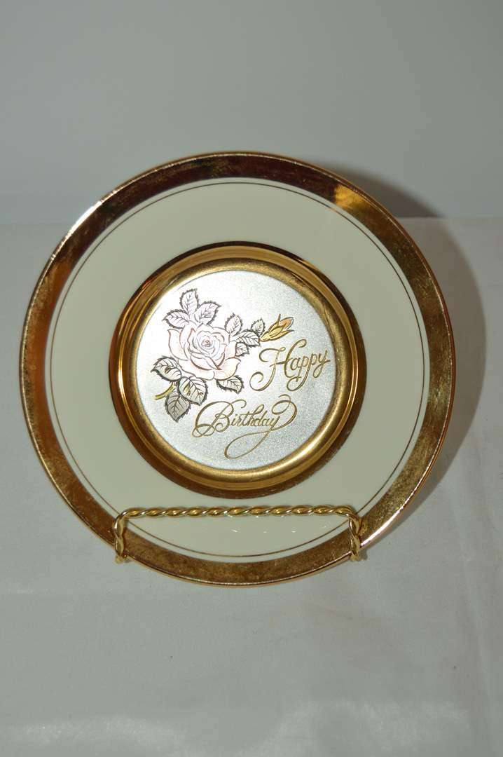 """Lot # 10 Dynasty gallery """"Happy Birthday"""" Chokin plate on stand (main image)"""