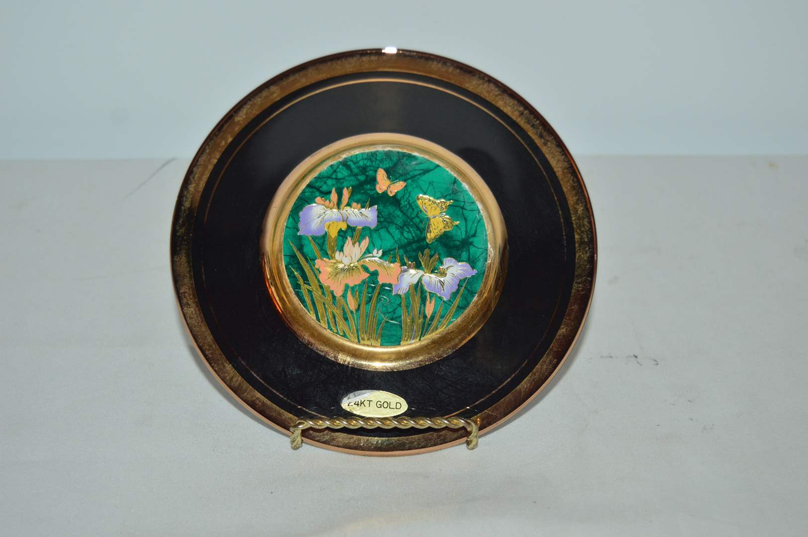 Lot # 11 Butterfly theme, Green on black Chokin plate w/ stand (main image)