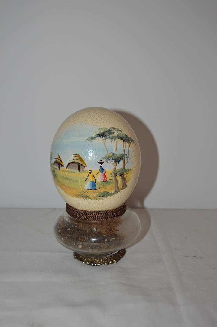 Lot # 21 Hand painted egg w/ brass & glass base (main image)