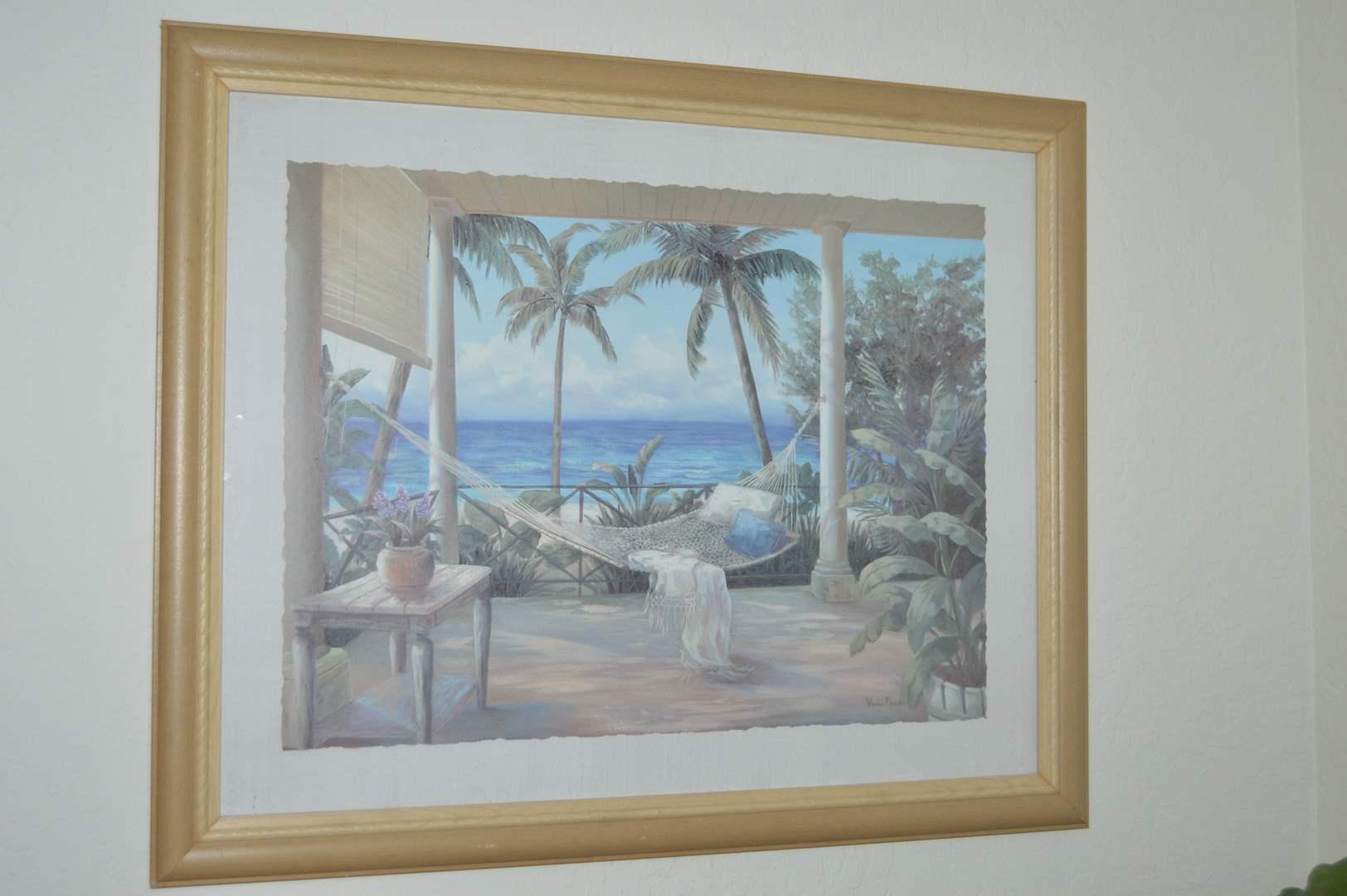 "Lot # 25 Vivian Flasch ""Tropical Porch 2"" framed print (main image)"