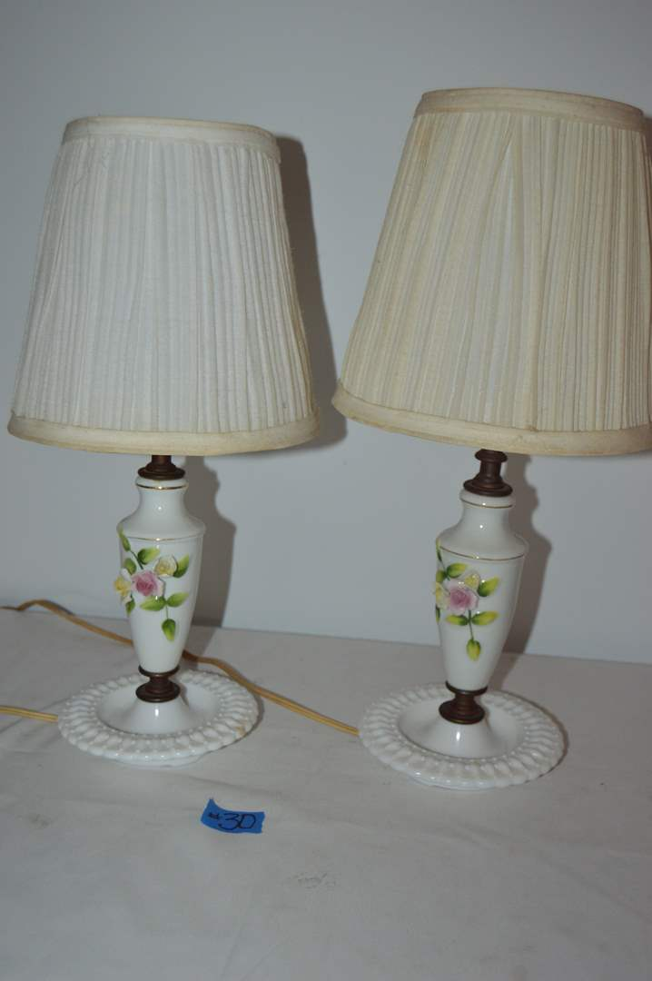 Lot # 30 Pair of vintage dresser lamps  (main image)