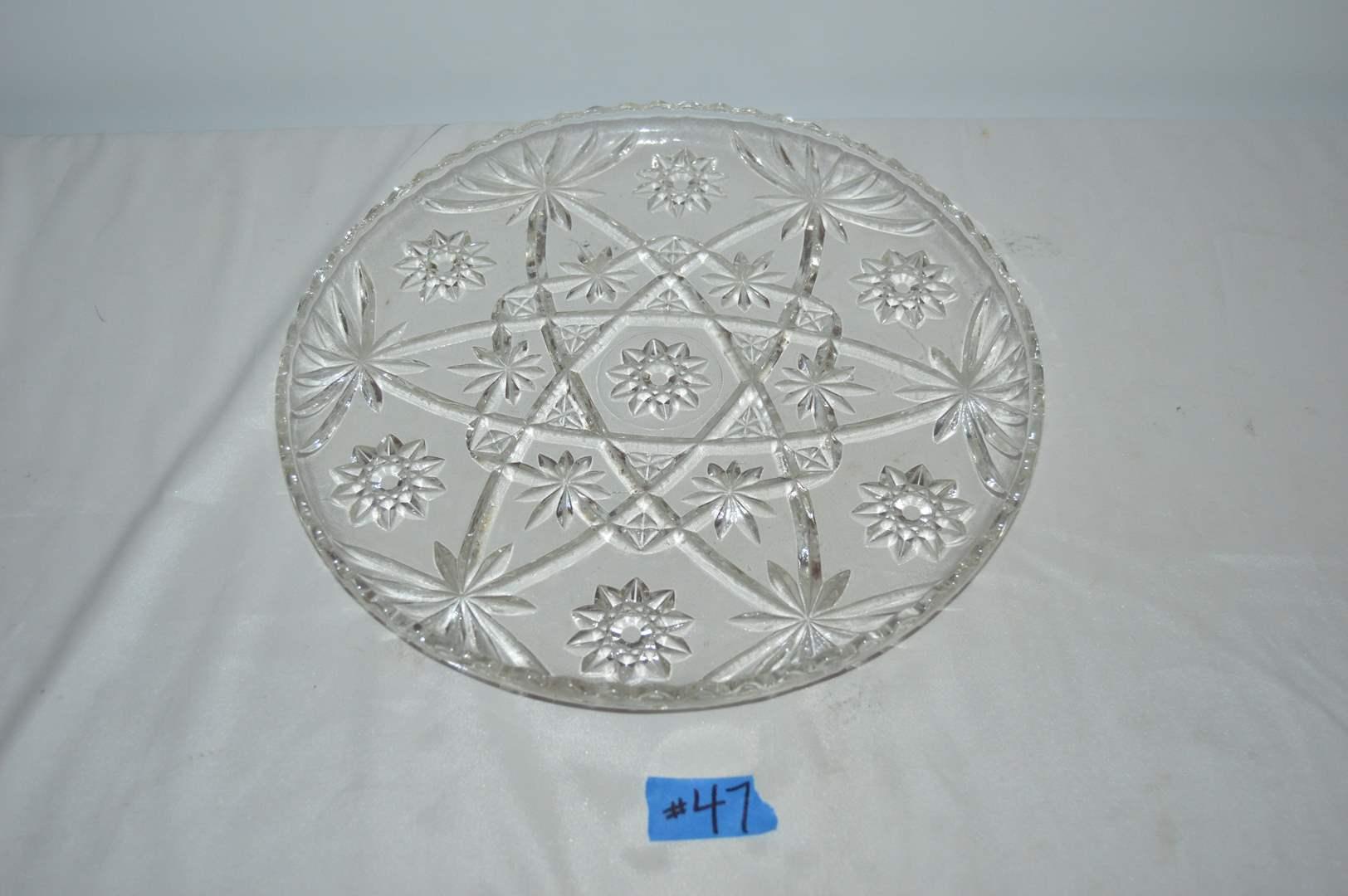 Lot # 47 Vintage large cut glass star serving platter (main image)