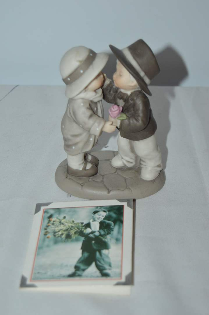 """Lot # 60 Enesco's Kim Anderson """"A Rose For a Kiss, How can I Miss"""" figurine (main image)"""