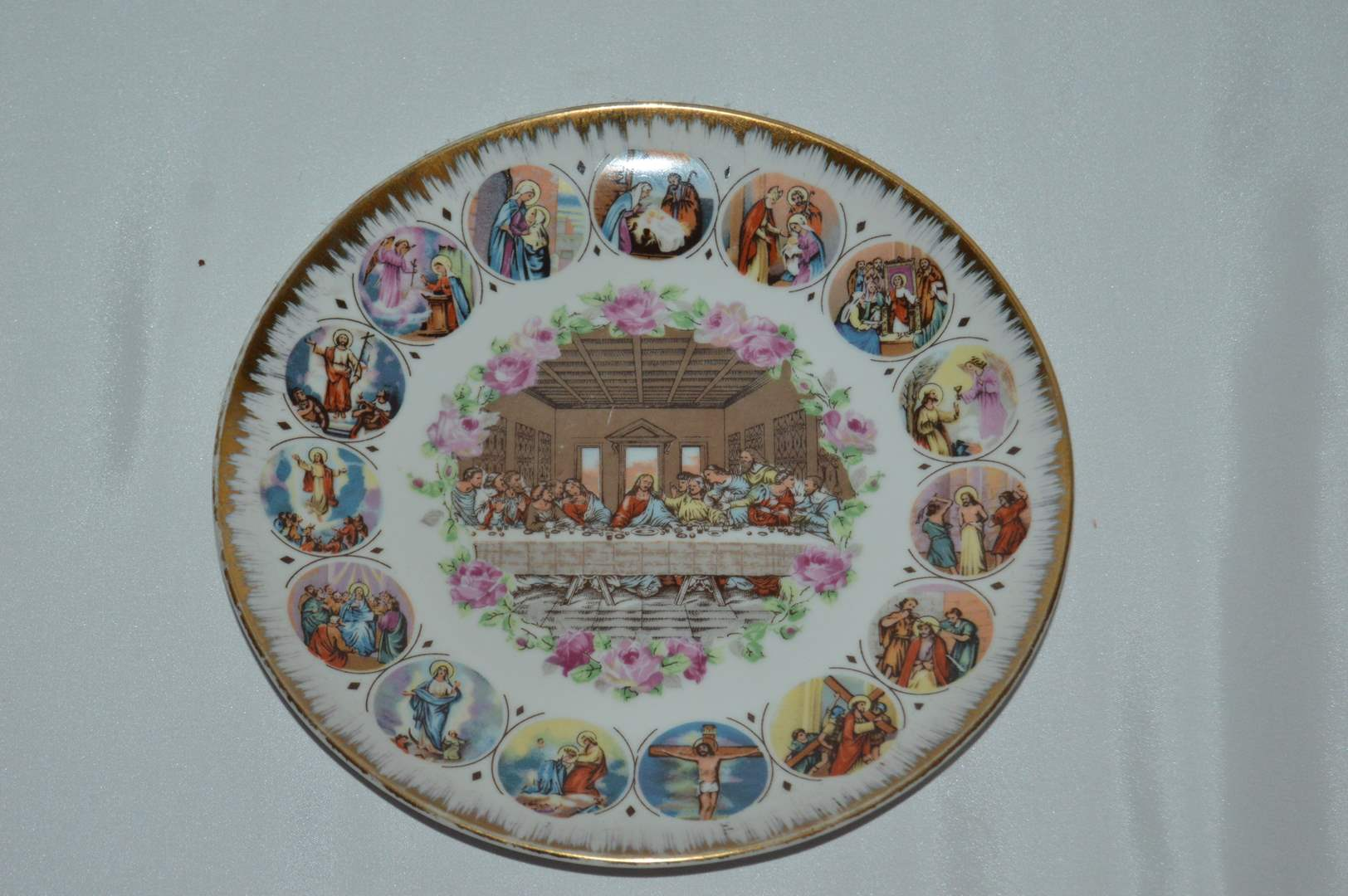 """Lot # 83 Gold trimmed """"The Last Supper"""" plate (main image)"""