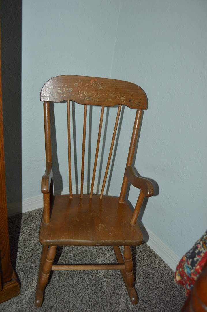 Lot # 110 Vintage child's rocking chair (main image)