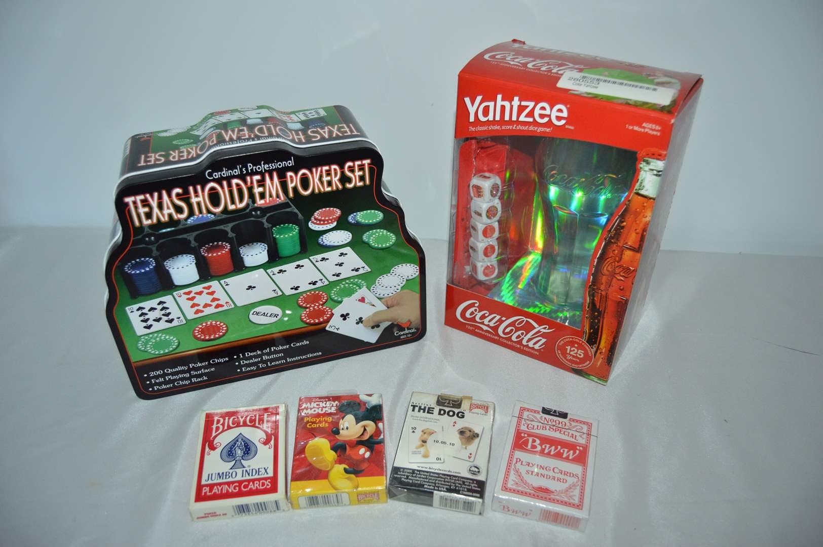 Lot # 115 Texas hold'em poker set, Coca Cola Yahtzee and 4 decks of cards (main image)
