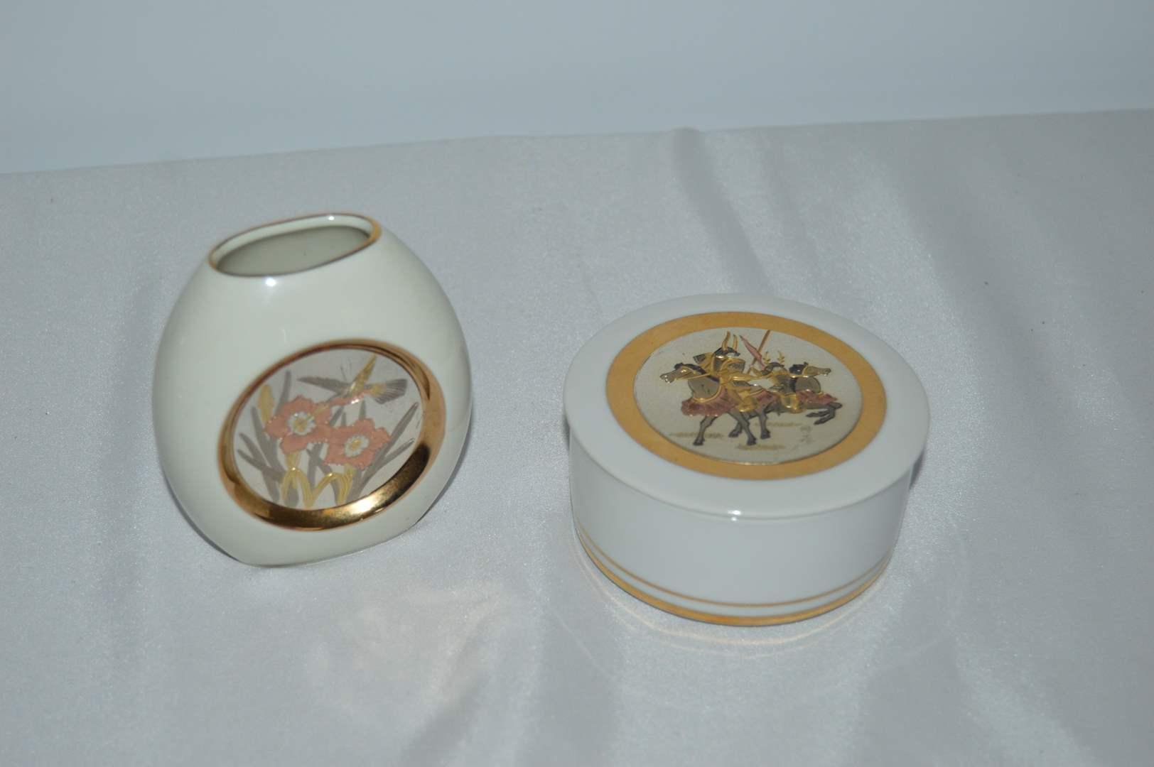 Lot # 122 Cholin vase and trinket box - Both 24k gold edged (main image)