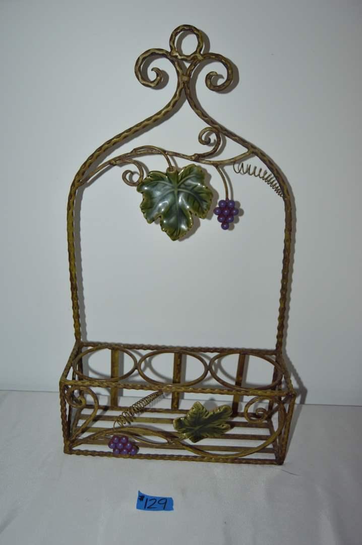 Lot # 129 Metal wall decorative wine rack (main image)