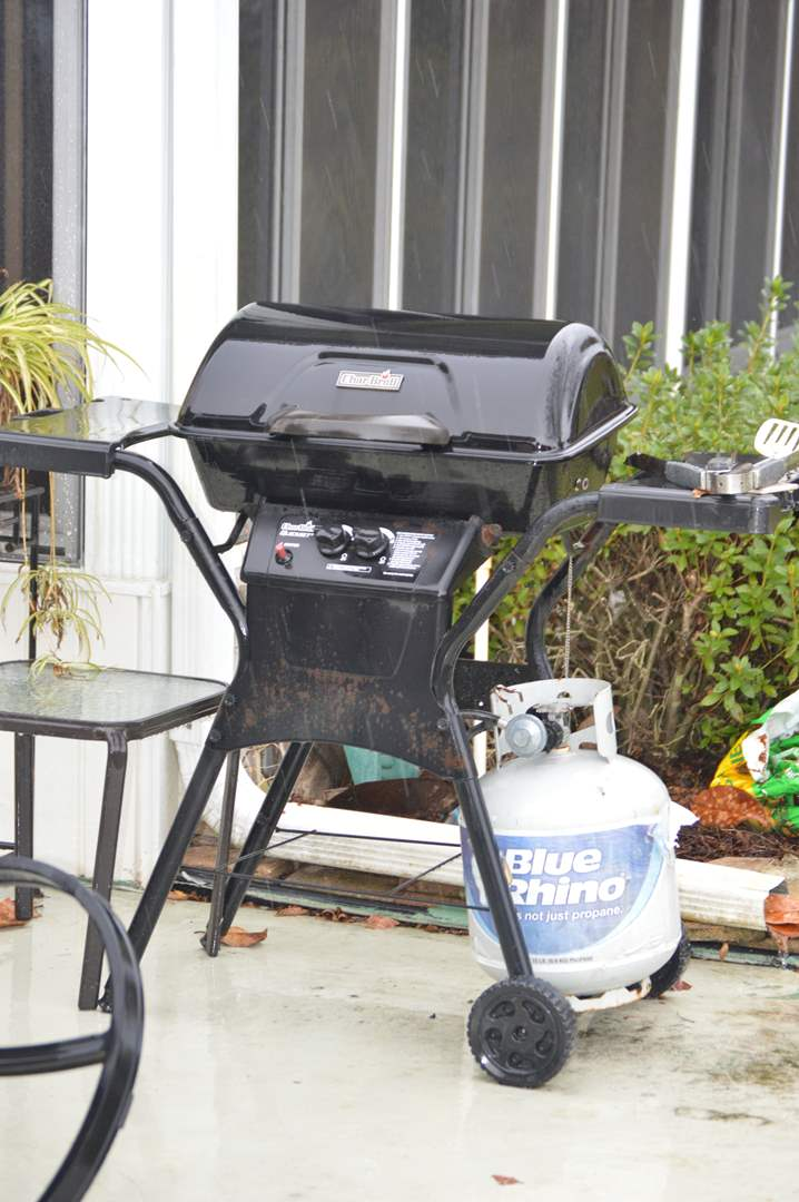 Lot # 219 Char Broil gas grill with gas & grilling tools (main image)