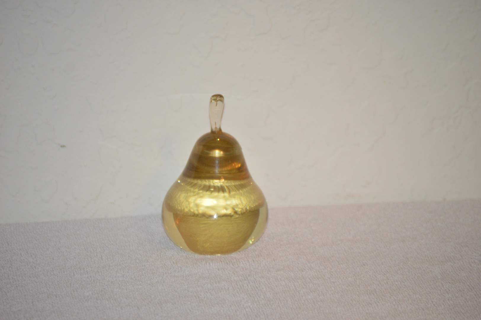 Lot # 233 Yellow pear paperweight (main image)
