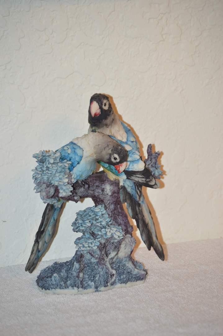 Lot # 234 Heavy resin outdoor/indoor parrots on branch statue (main image)