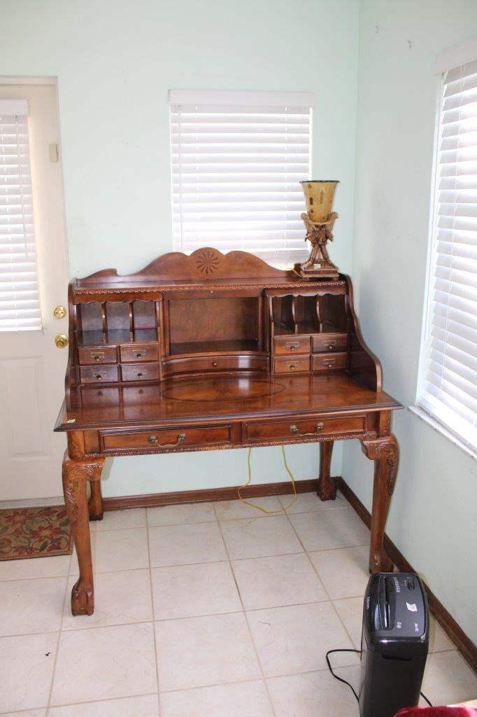 "Lot#1 Vintage Style Secretary Brown Cherry Desk 50"" x 31"" x 48.5""h  (main image)"