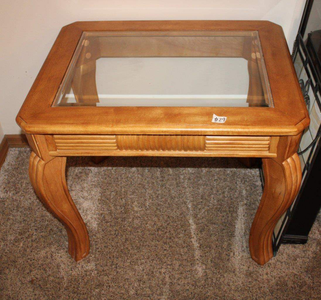 """Lot#29 Beveled Edge Glass Top Wood Side Table 30"""" x 24"""" x 24.5""""h  (main image)"""