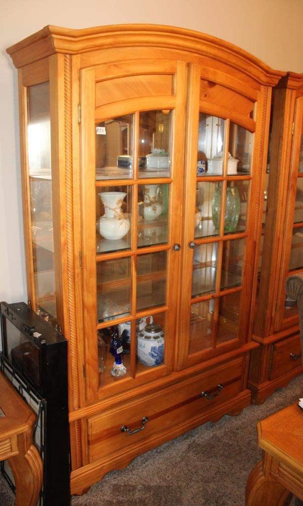 "Lot#32 Wood & Glass Door Display Cabinet 46"" x 16.5"" x 76""h w/ Mirror backing & lighting  (main image)"