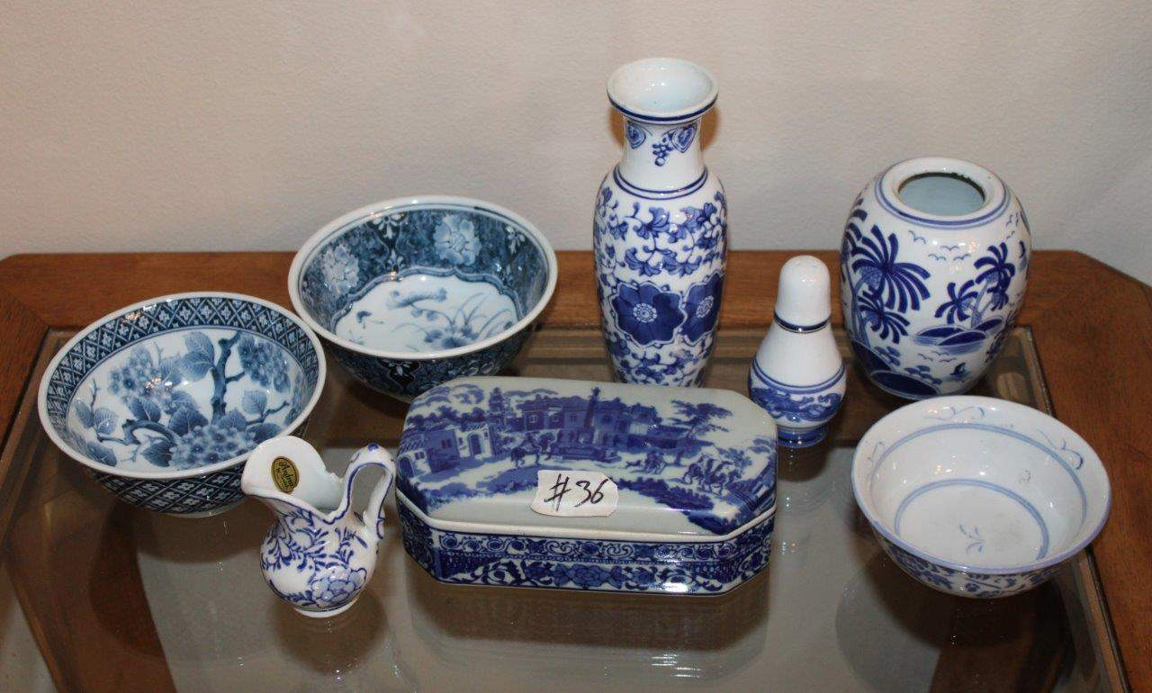 Lot#36 Blue & White Vases, bowls, Bombay single salt shaker, trinket box, Andrea by Sadek creamer  (main image)