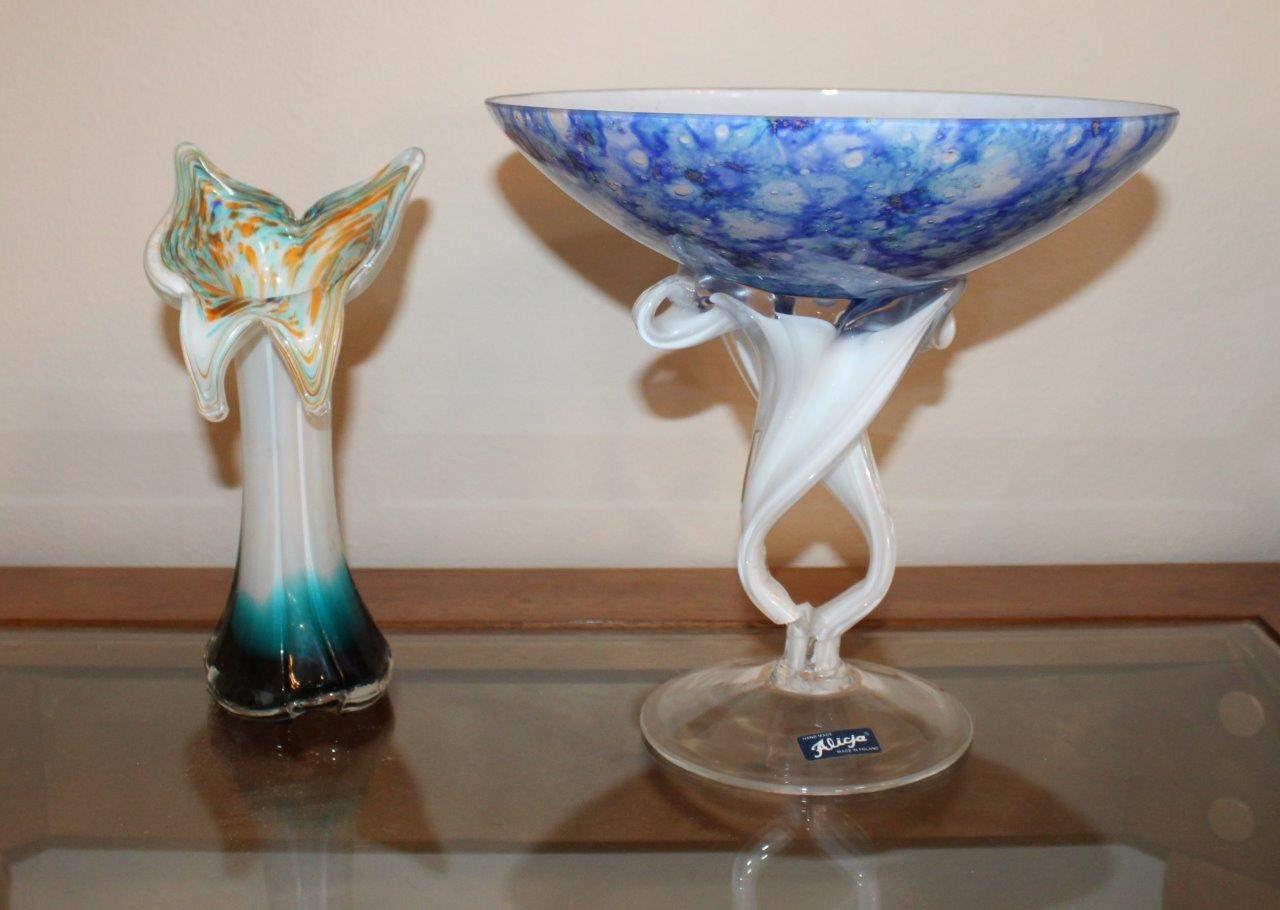 Lot#37 Glass Vase & Alicja Glass Compote (damaged)  (main image)