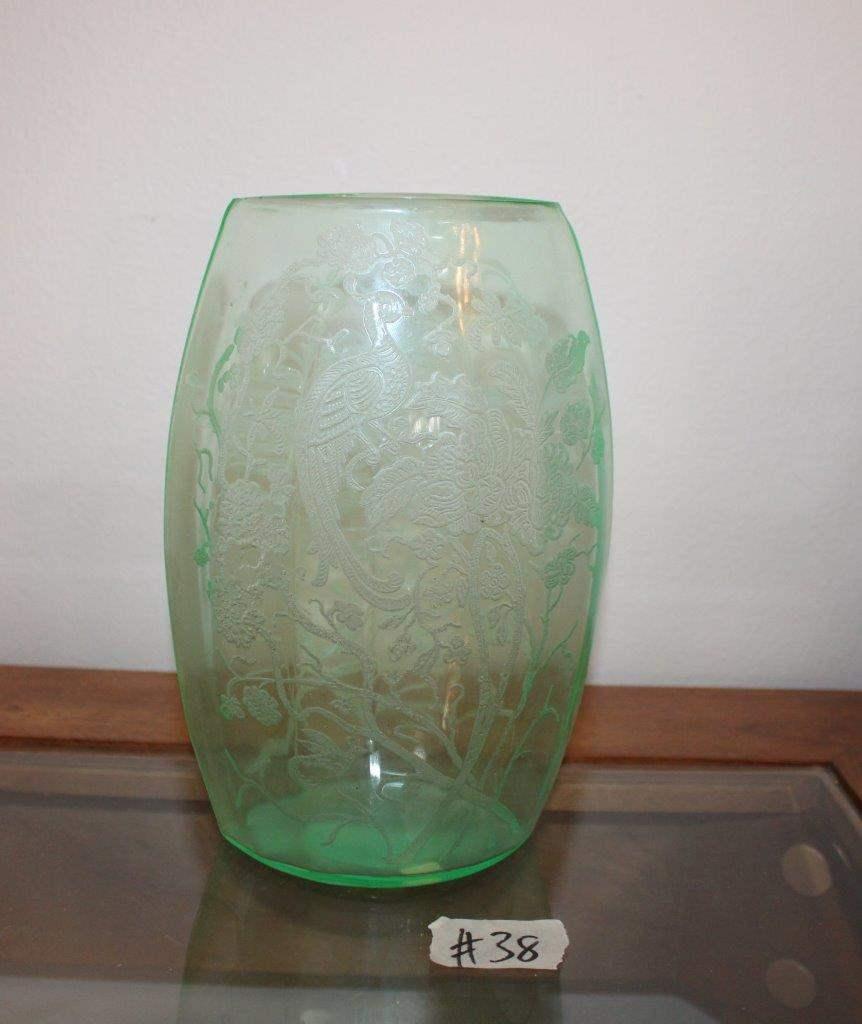 """Lot#38 Vaseline glass floral vase 8""""h - small chips on rim  (main image)"""