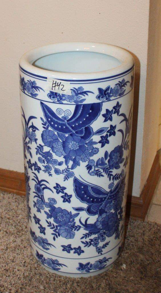 "Lot#42 Blue & White Oriental Floral Umbrella Holder  18.5""h  (main image)"