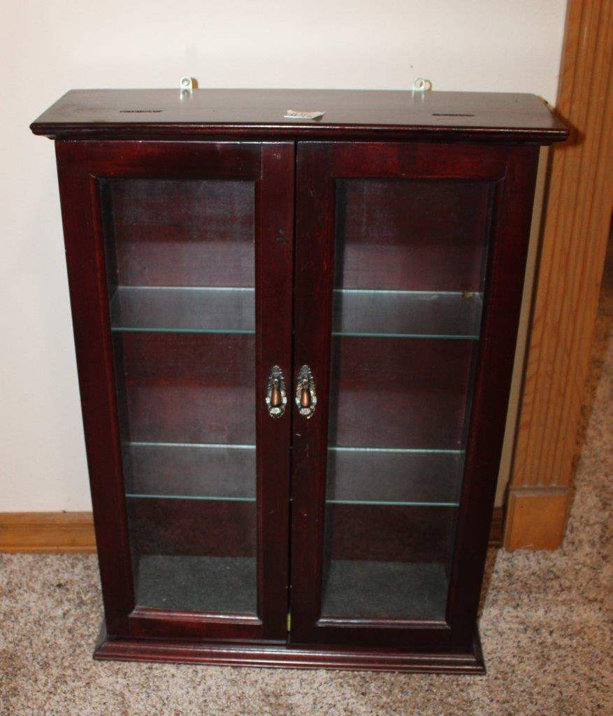"""Lot#46 Wall Mounted Curio Cabinet 20"""" x 27""""h  (main image)"""