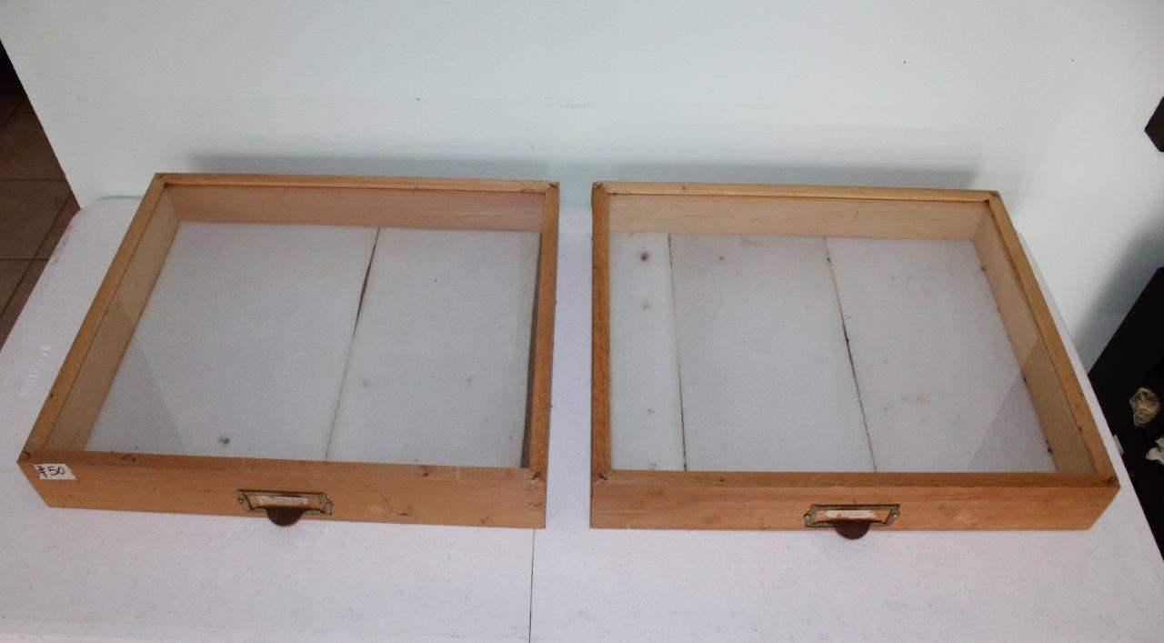 """Lot#50 2 Wood & Glass Display Cases 19"""" x 16.5"""" x 3.5""""h  (main image)"""