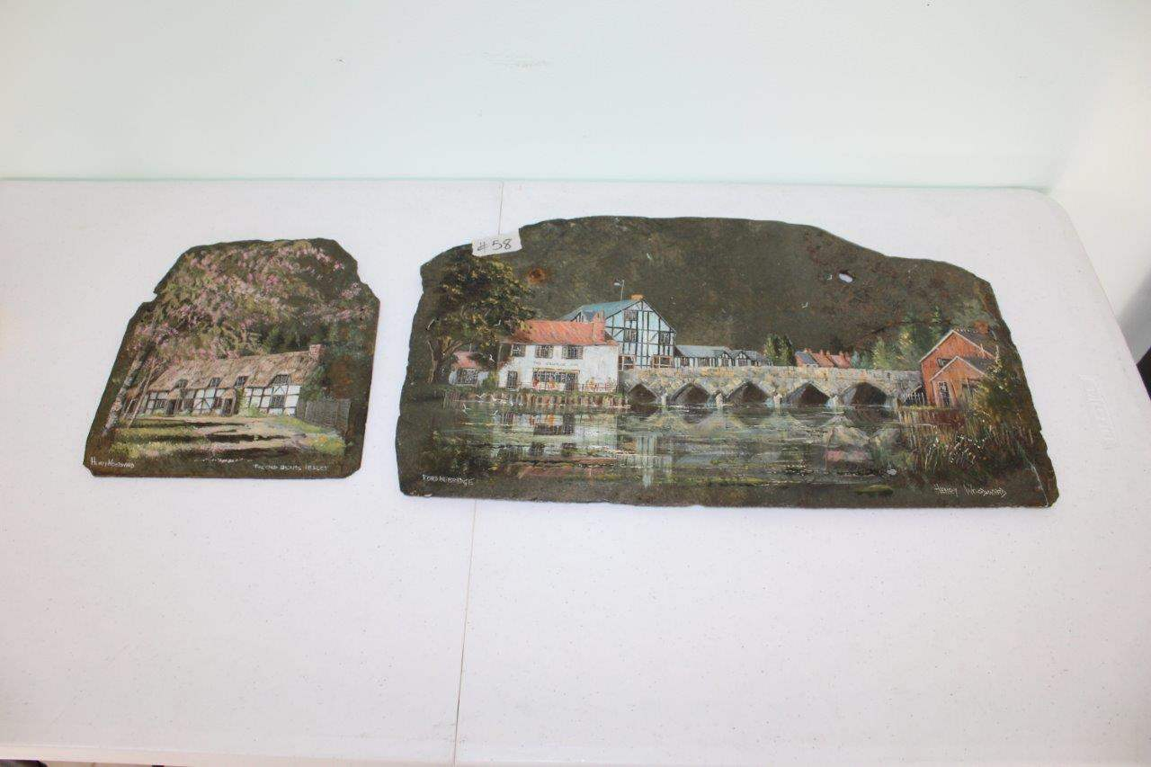 Lot#58 2 Hand Painted Slates by Henry Woodward  (main image)