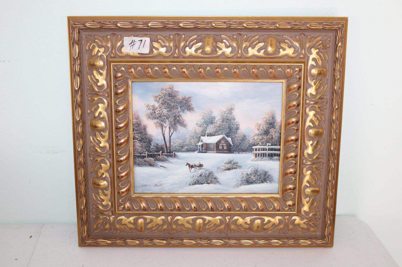 """Lot#71 Landscape Painting on board dSigned 17"""" x 15""""h (main image)"""