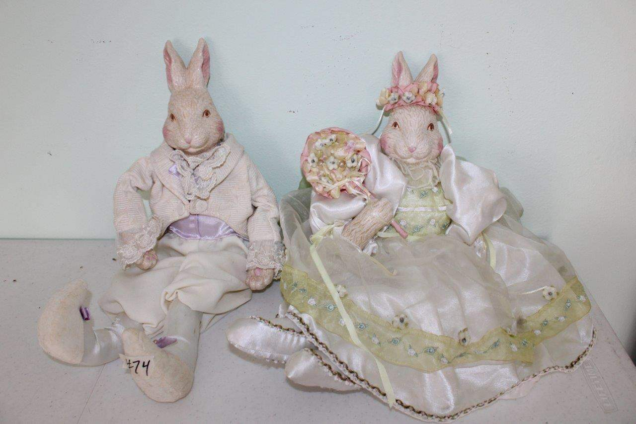 Lot#74 2 Fabric & Ceramic Bunny Dolls  (main image)