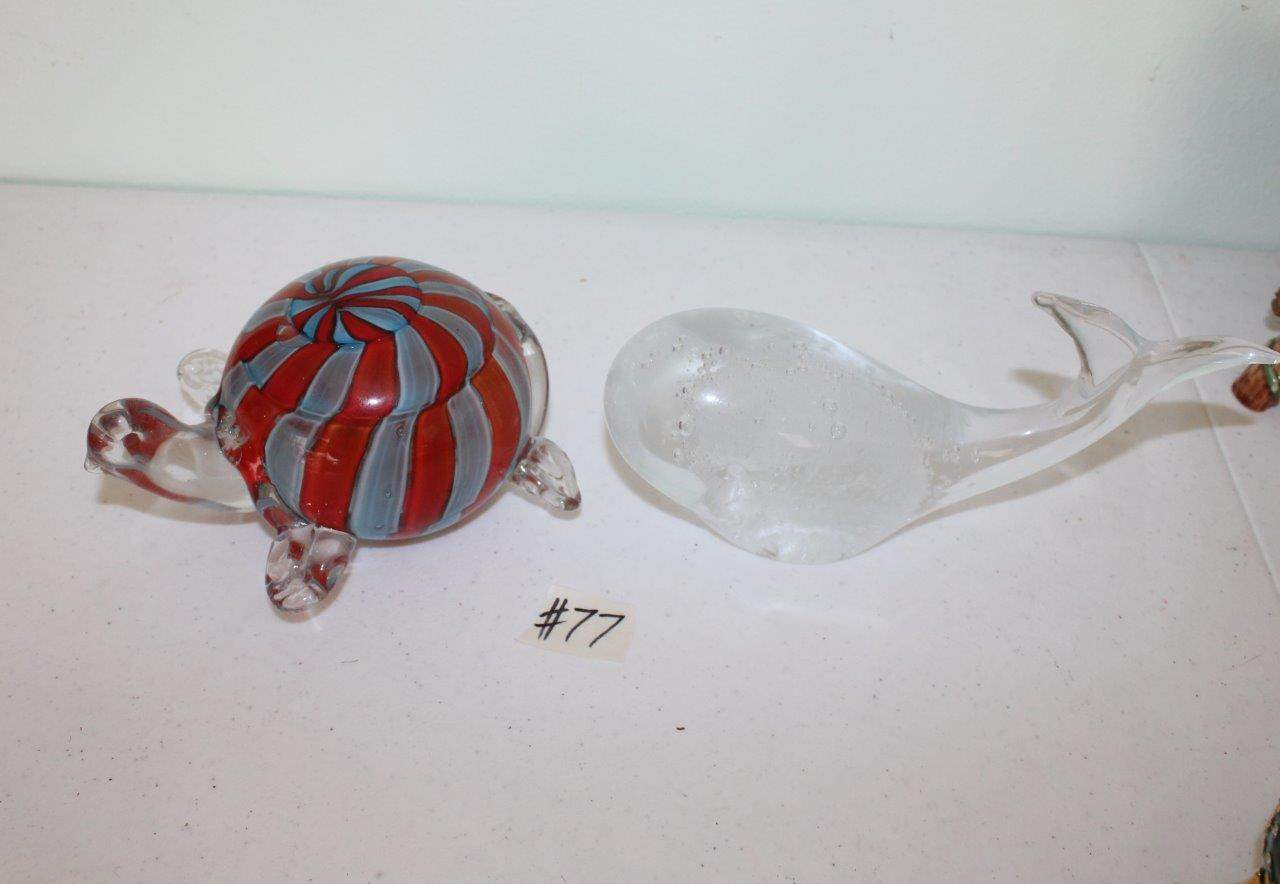 Lot#77 Glass Whale Paperweight & Gorgeous Designs Glass Turtle Paperweight  (main image)