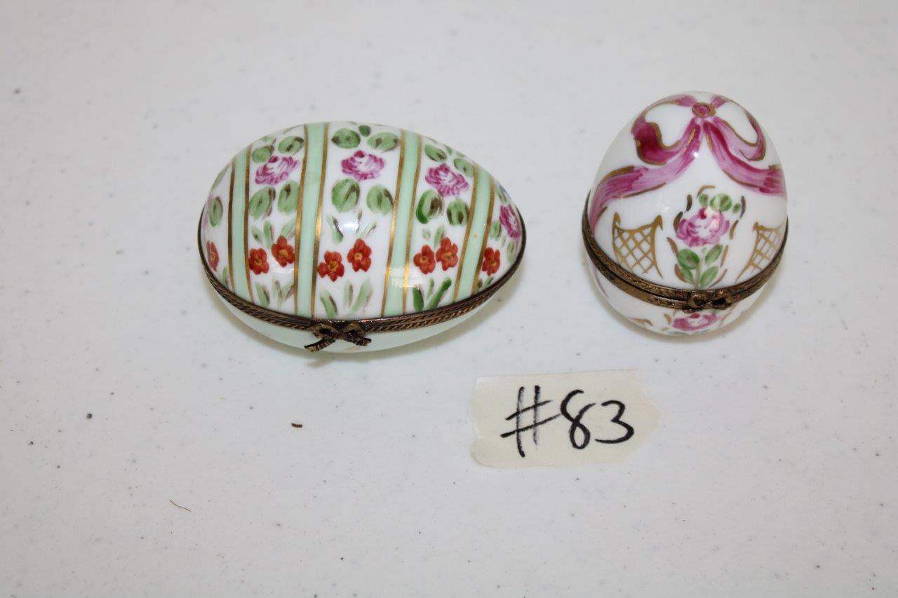 Lot#83 2 Hand Painted Ceramic Limoges France Egg Trinket Boxes  (main image)