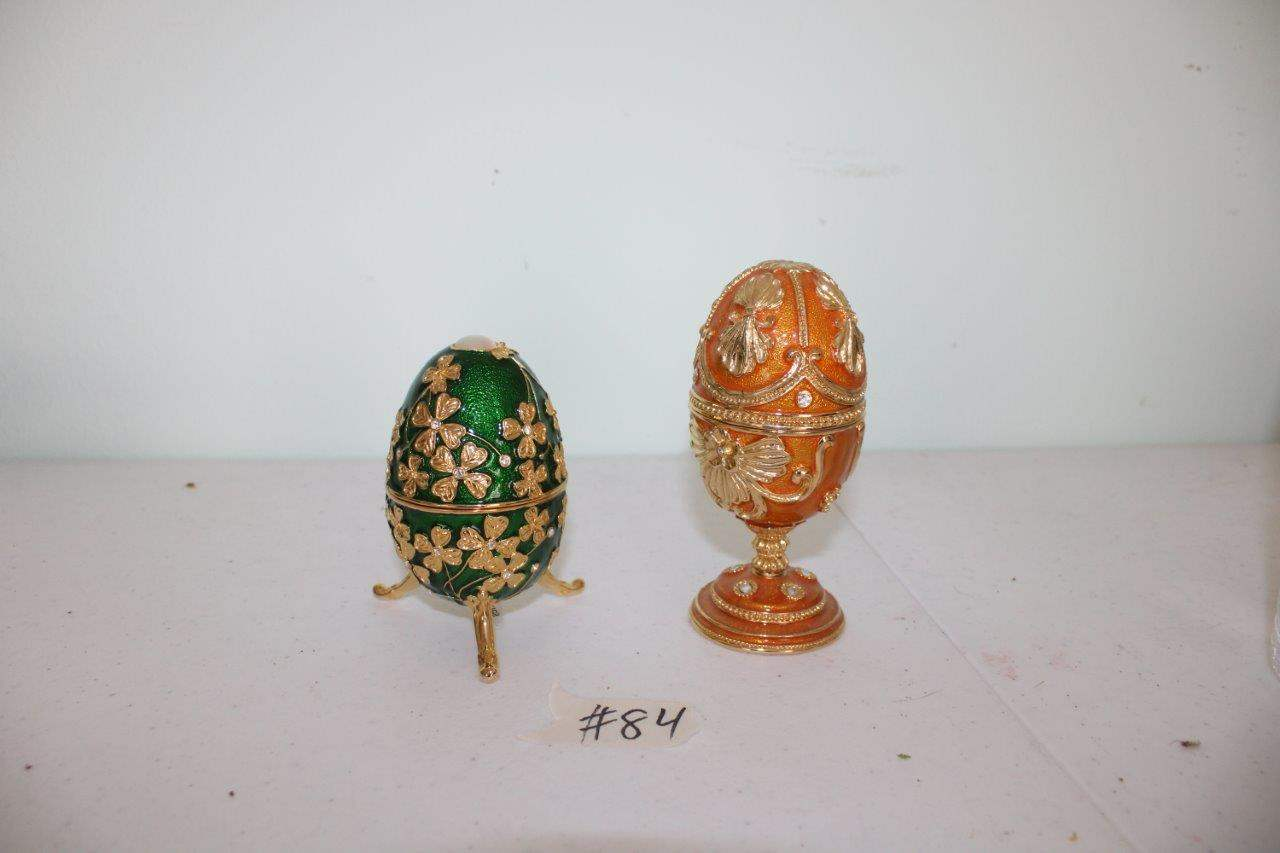 Lot#84 2 Collectible Bejeweled Egg Trinket Boxes  (main image)