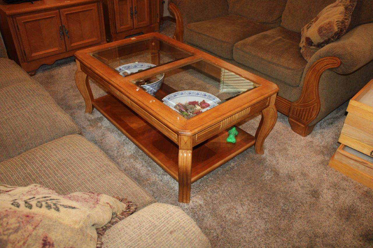 "Lot#89 Beveled Edge Glass Top Coffee Table 30"" x 50"" x 20""h  (main image)"