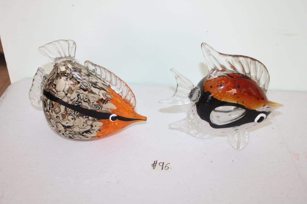 Lot#96 2 Glass Fish Sculptures  (main image)