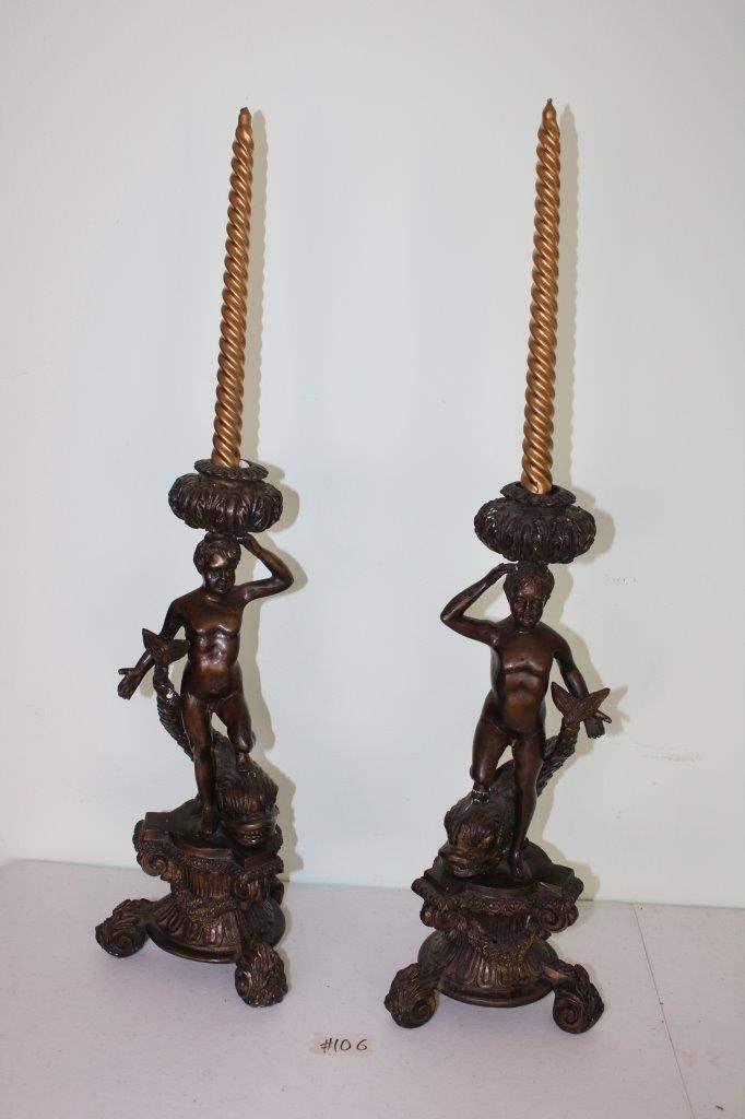 Lot#106 Pair of Metal Vintage Cherub on Fish Candle Holders  (main image)