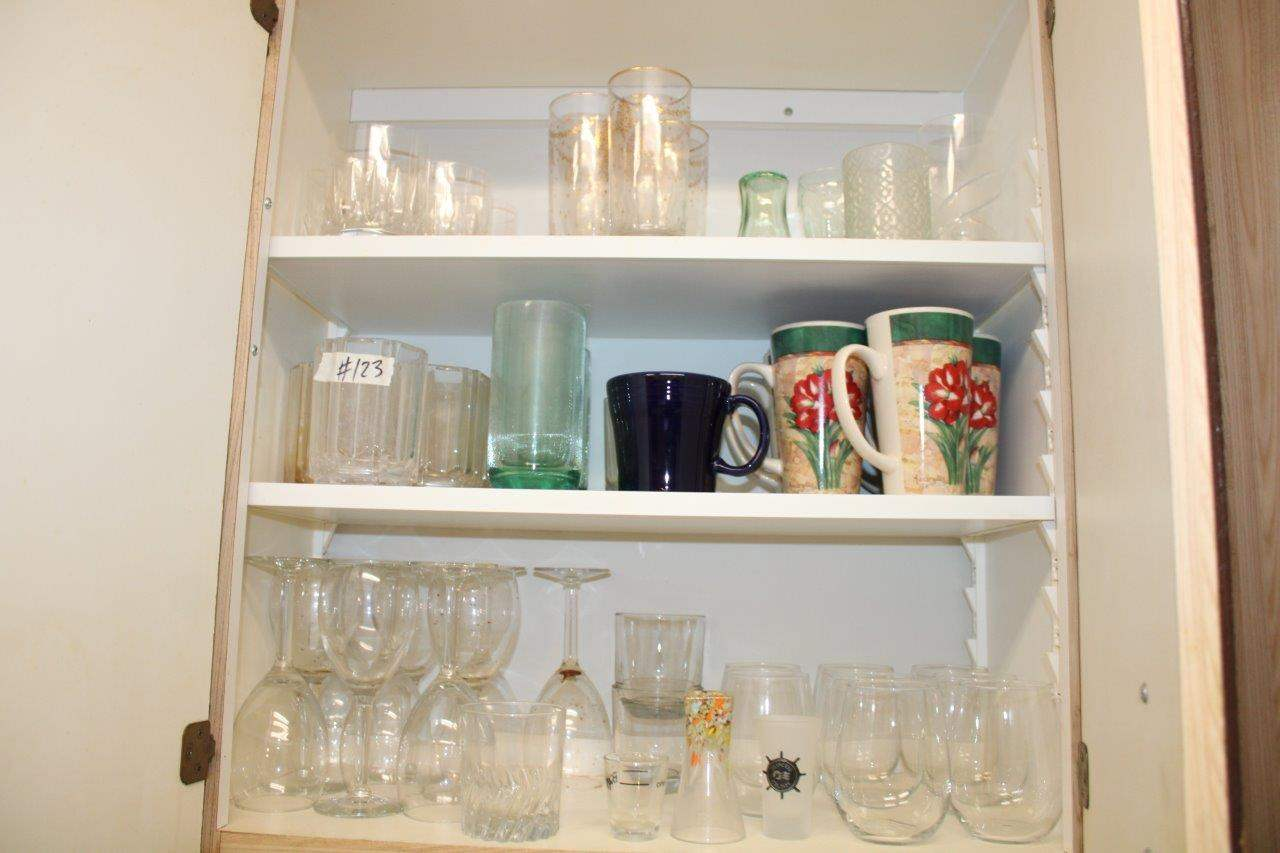 Lot#123 Assorted Glassware, plastic cups, & Mugs  (main image)