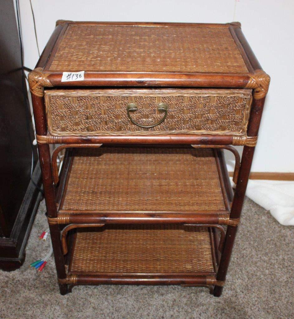 "Lot#136 Single Drawer Rattan Side Table 22"" x 16"" x 32""h - has wear  (main image)"