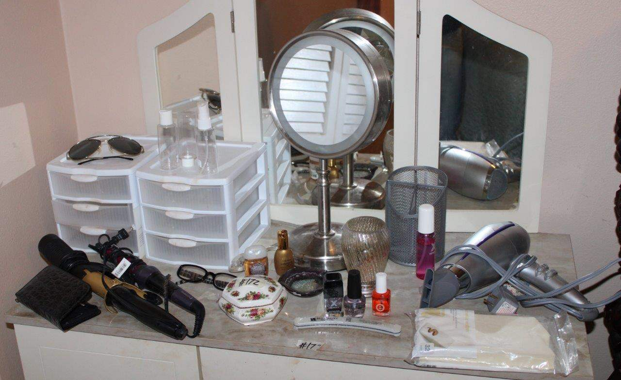 Lot#172 Lighted Vanity Mirror, 2 3-Drawer organizers, trinket box, hair curling irons, John Frieda hair dryer  (main image)