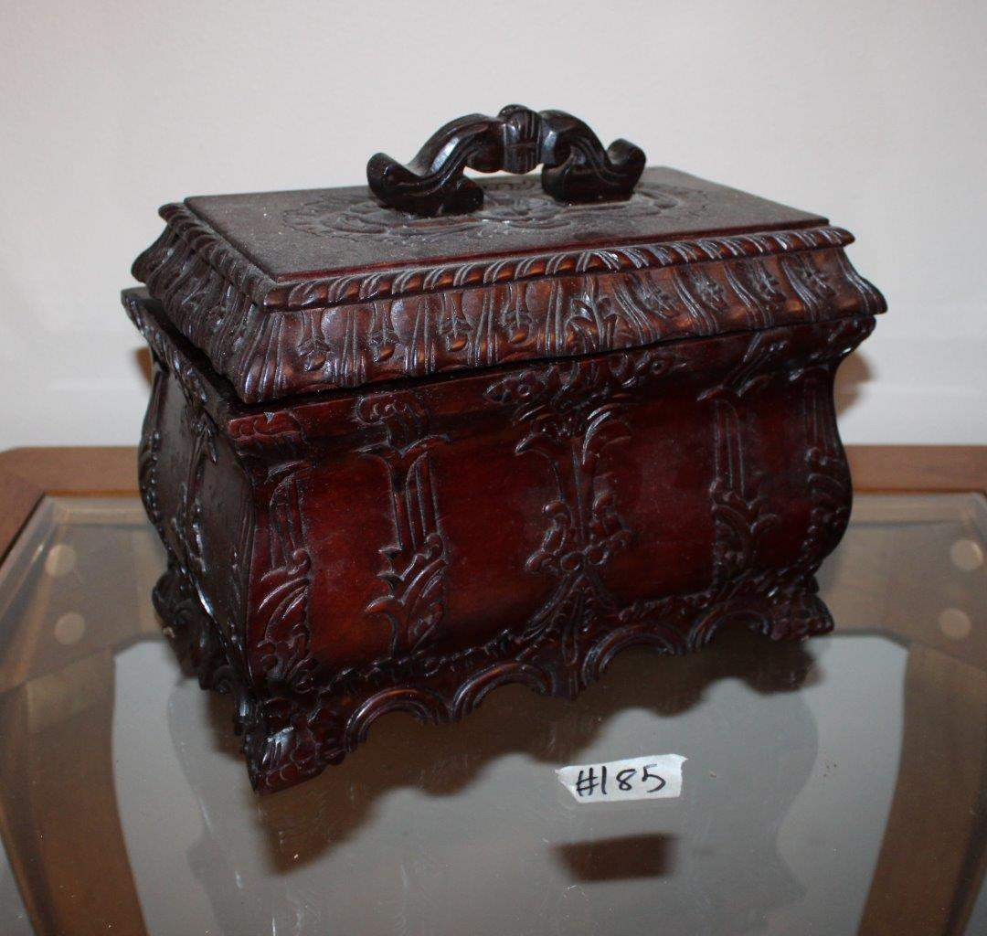 "Lot#185 Ornate Storage Box w/ Removable Tray  12"" x 7"" x 9.5""h  (main image)"