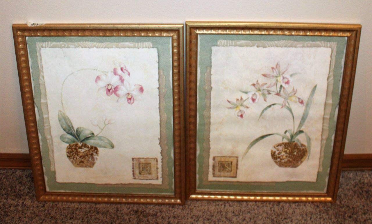 "Lot#187 2 Floral Wall Decor Prints 18"" x 22.5""h  (main image)"