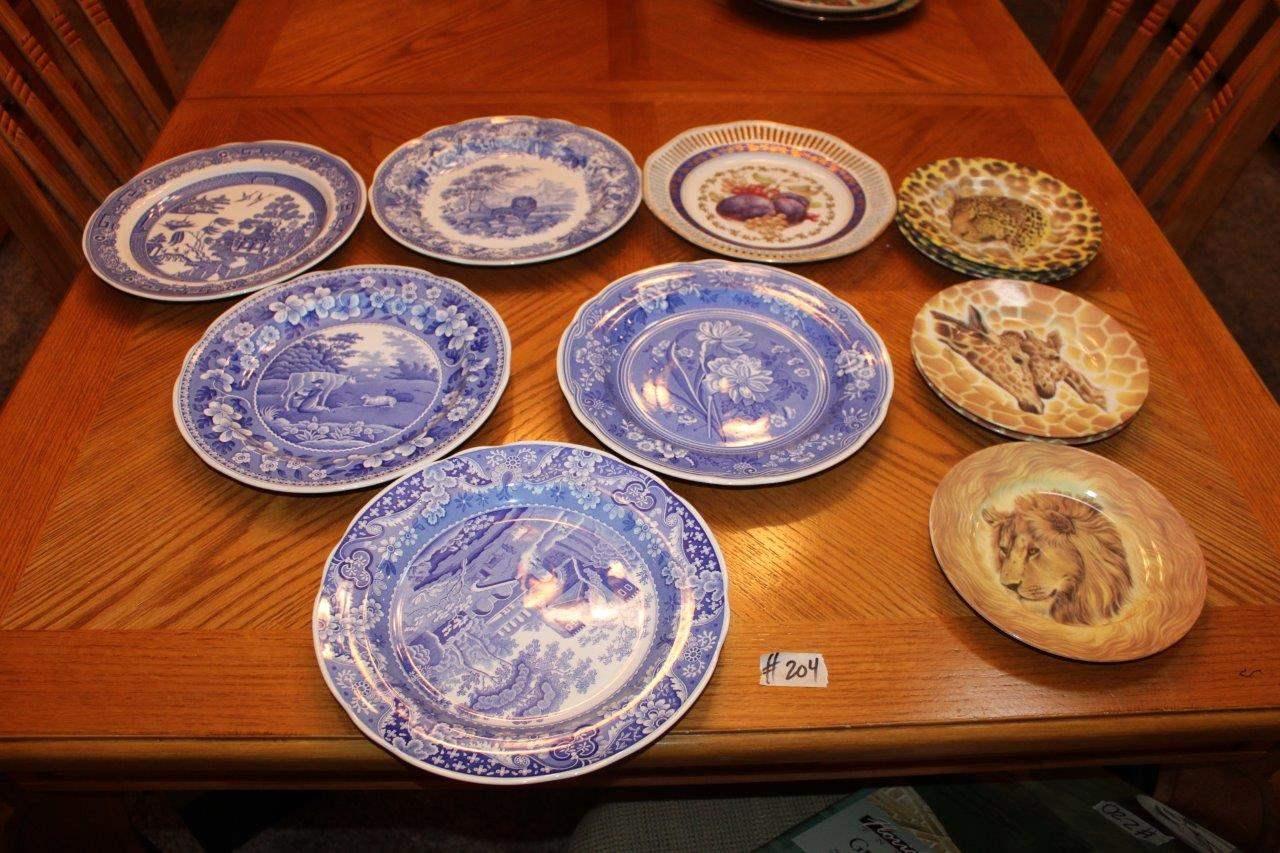 Lot#204 5 Spode Blue Room Plates, Winterling plate, 6 Email De Limoges Plates  (main image)