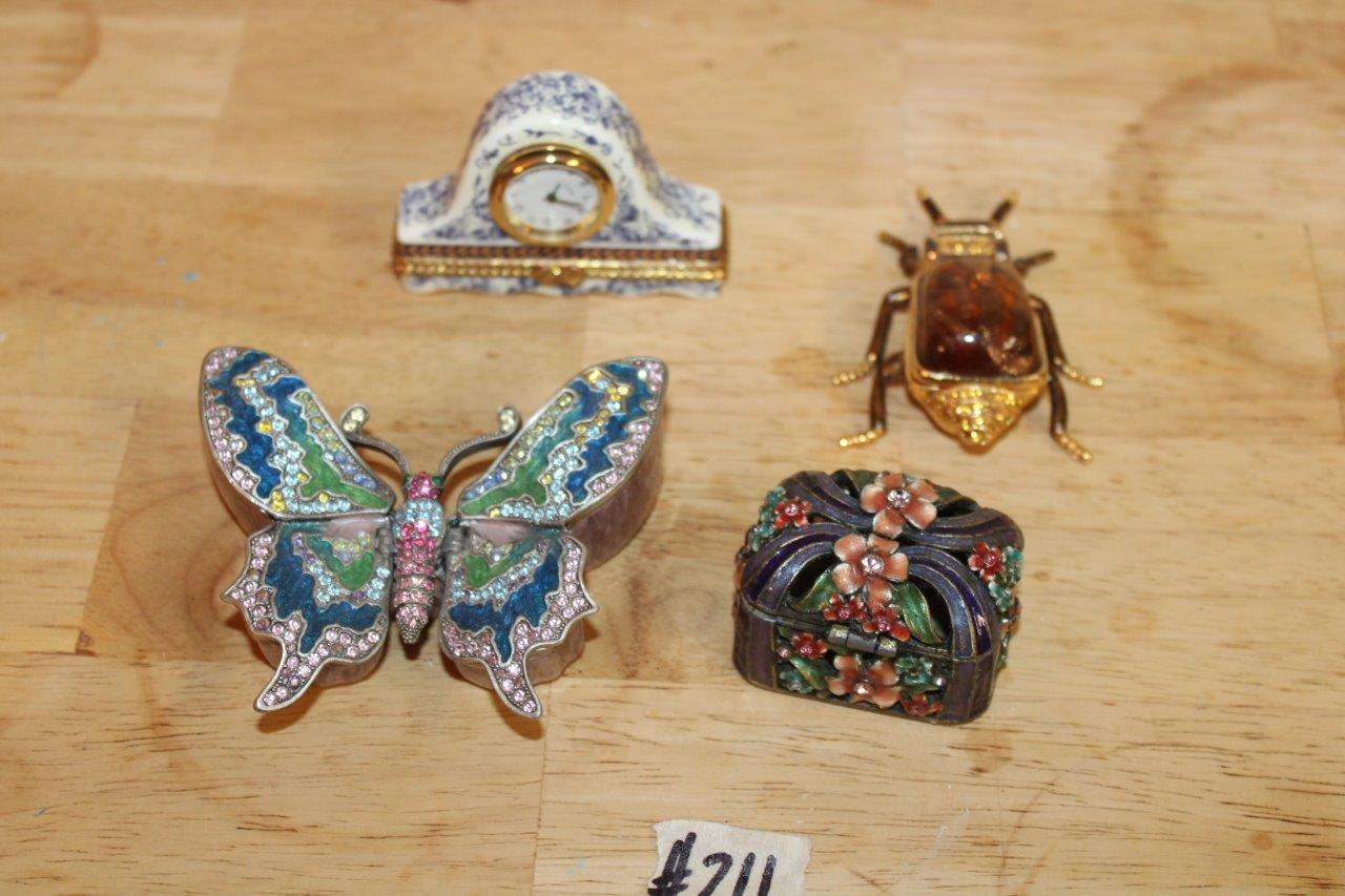 Lot#211 4 Collectible Bejeweled Trinket Boxes  (main image)