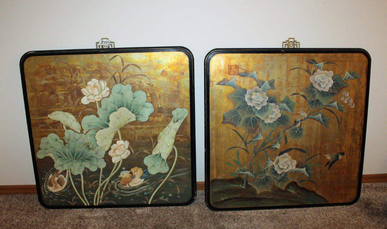 "Lot#225 2 Large Oriental Floral Wall Decors 36"" - Frames have wear  (main image)"