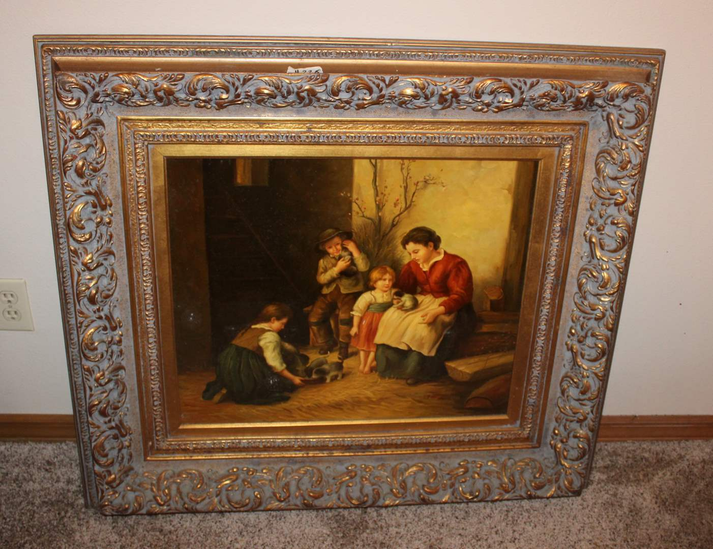 """Lot#226 Vintage Painting on Canvas Signed J. Hawkins 38"""" x 34""""h - needs cleaning  (main image)"""
