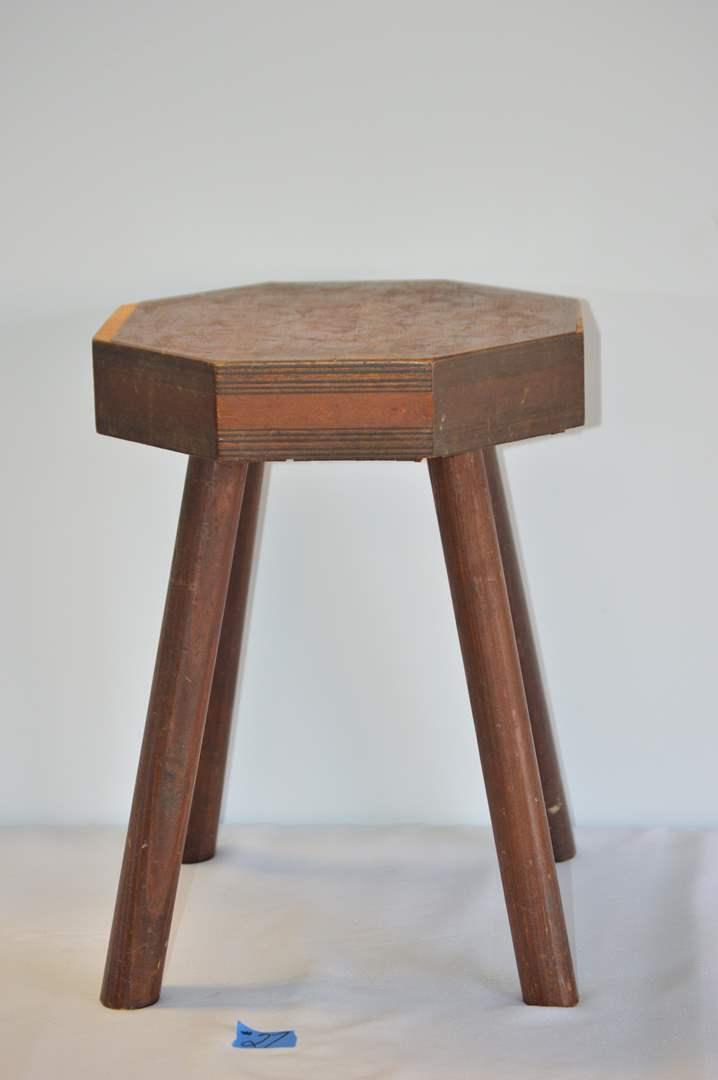 Lot # 27 Vintage wood stool (main image)