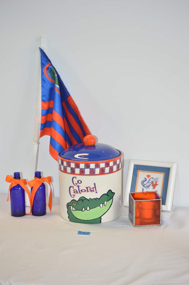 Lot # 37 Florida Gator cookie jar, candle, flag & decor (main image)