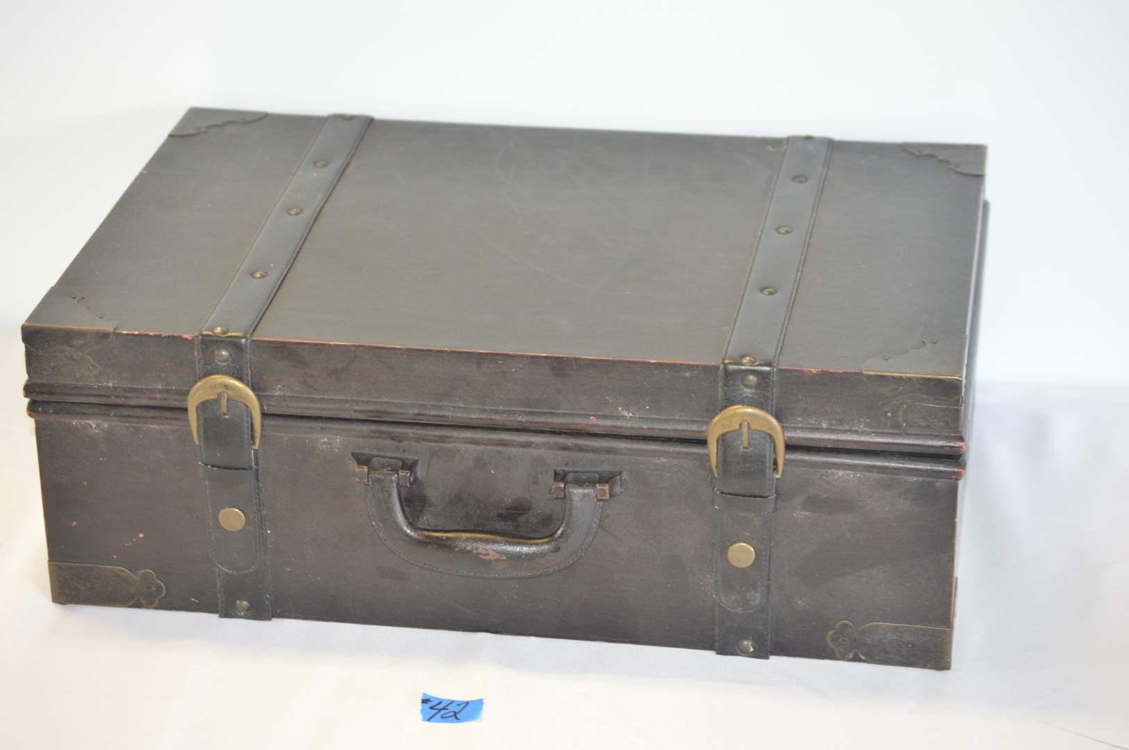 Lot # 42 Wood and metal decor/storage box (main image)