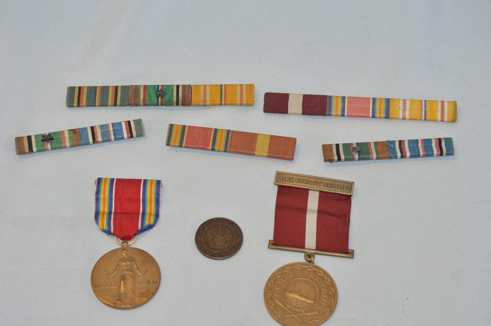 Lot # 59 Vintage military service medals, ribbons, & coin (main image)